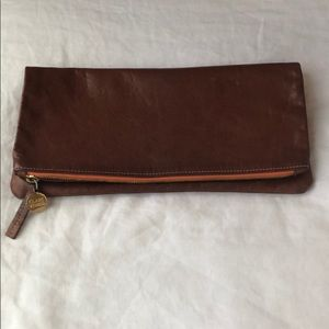 Clare V Brown Leather Foldover Clutch